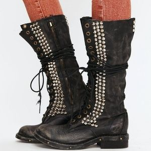 Jeffrey Campbell Seattle Love Studded Combat Boots